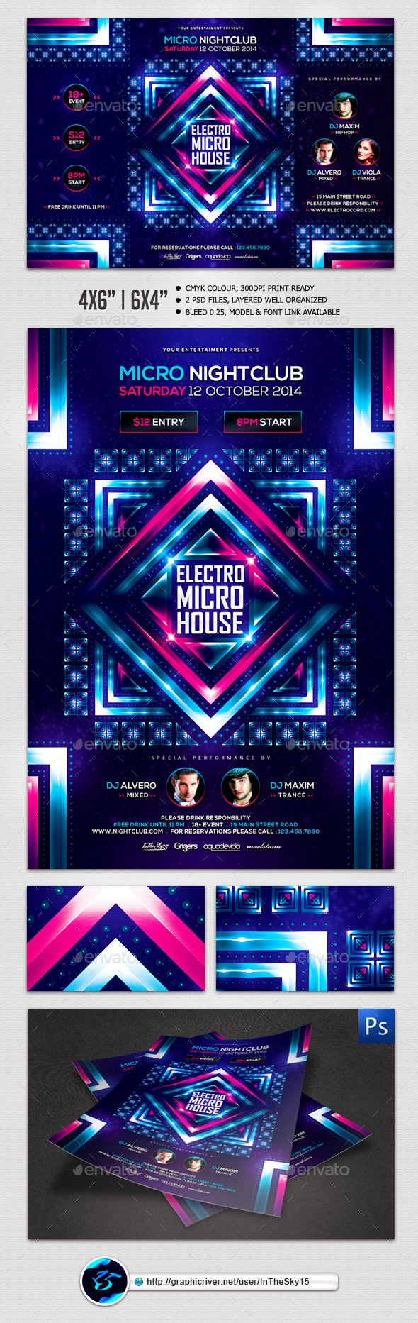 Electro Micro House Flyer Template - Flyers Print Templates