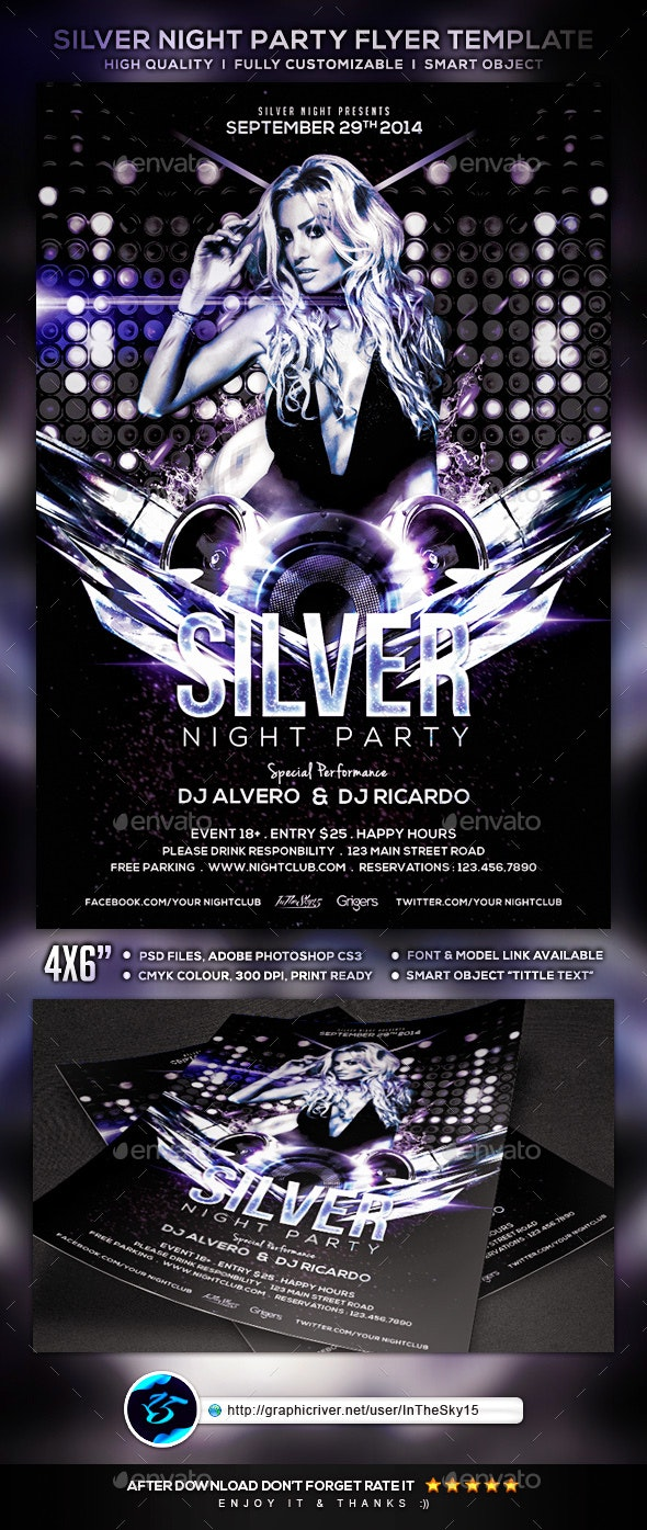 Silver Night Party Flyer Template - Clubs & Parties Events