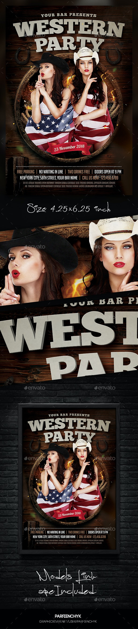 Western Party Flyer Template - Clubs & Parties Events