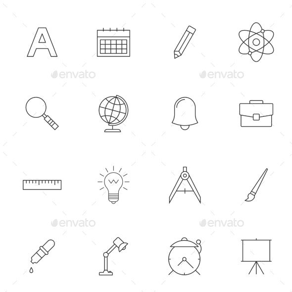 School Education Outline Icons - Man-made objects Objects