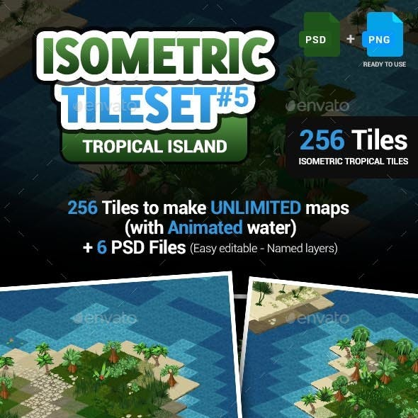 Isometric Tileset #5 - Isometric Tropical Island Pack