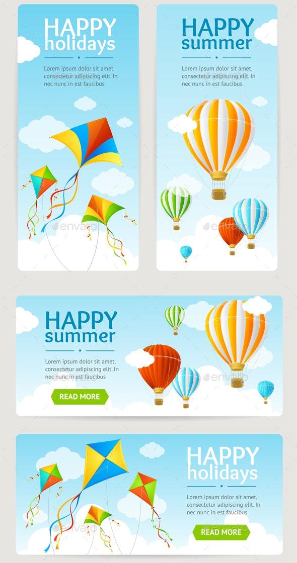 Summer Holiday Card Set - Travel Conceptual