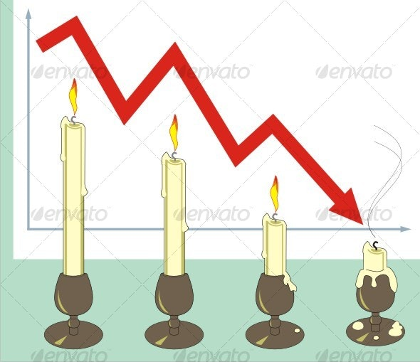 Crisis. The diagram with candles. - Business Conceptual
