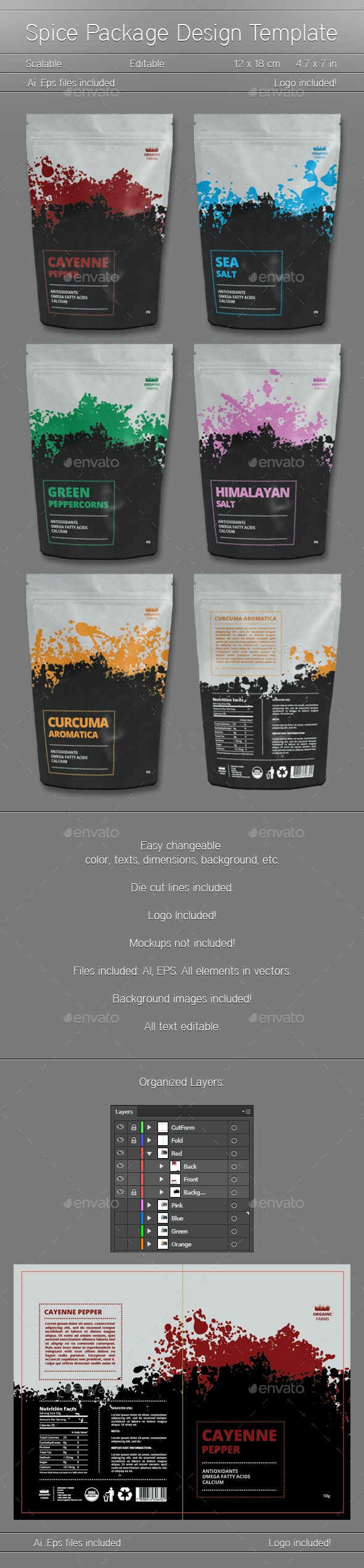 Spice Package Design - Packaging Print Templates
