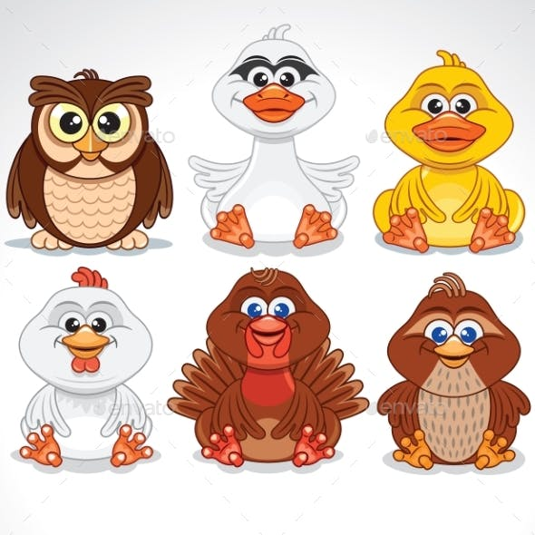 Set of Various Cartoon Birds