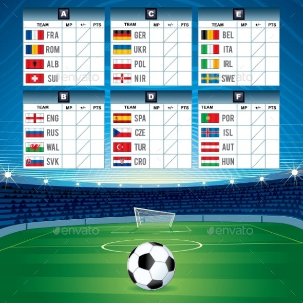 Euro Soccer Table with Flags
