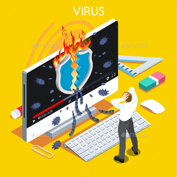 Computer Virus Isometric People
