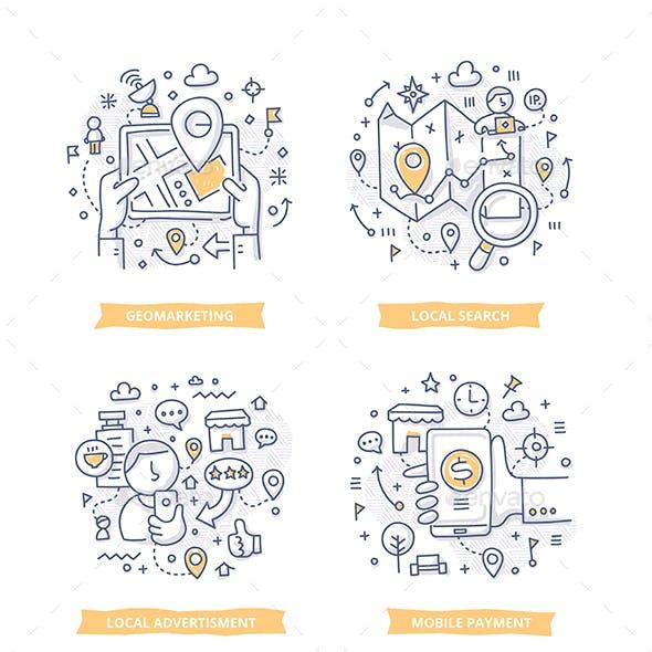 Location-Based Marketing Doodle Illustrations