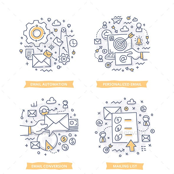 Email Marketing Doodle Illustrations