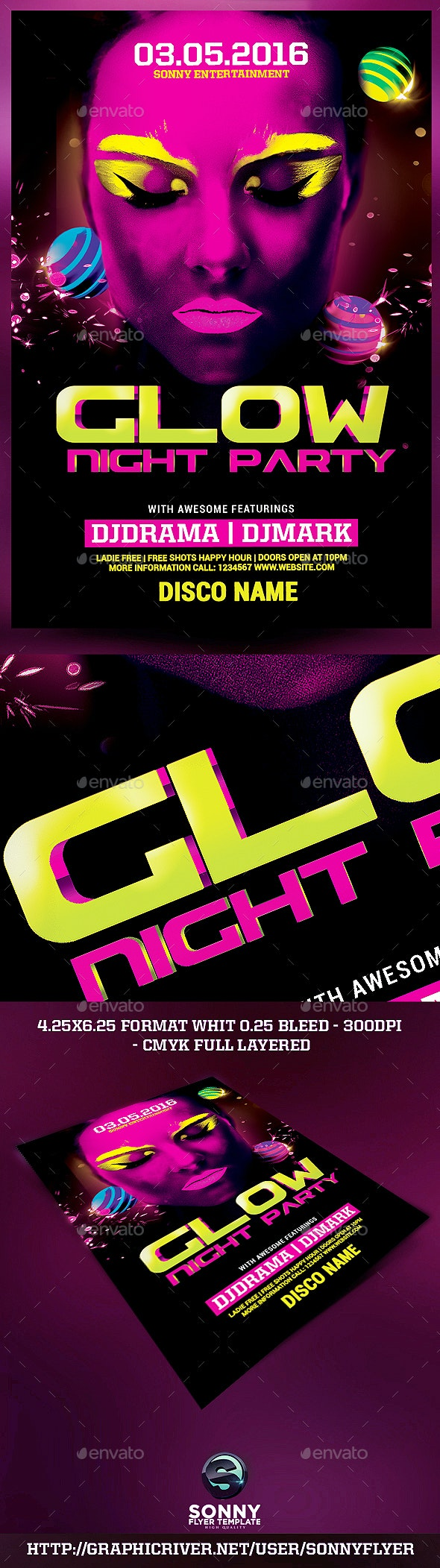 Glow Night Party Flyer Template - Flyers Print Templates