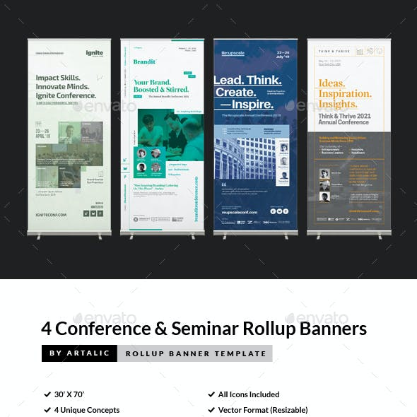 4 Conference & Seminar Event Roll-up Banners