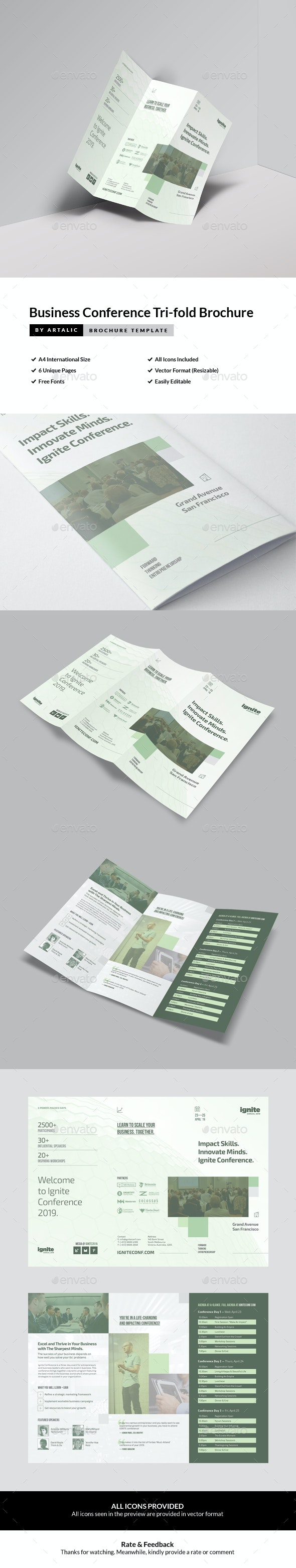 Business Conference Tri-fold Brochure - Brochures Print Templates