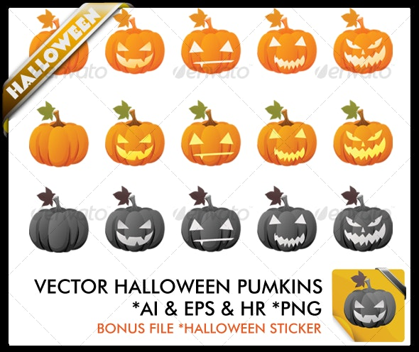 Funny Vector Halloween Pumpkins - Halloween Seasons/Holidays