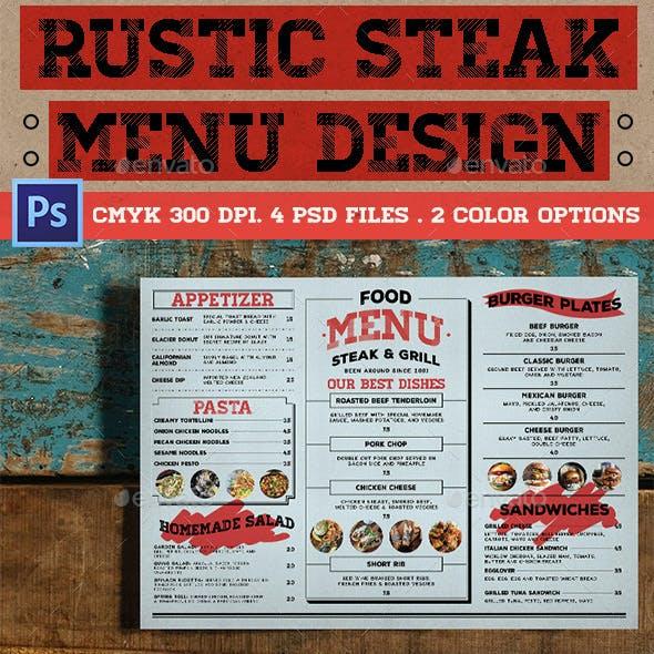 Rustic Steak Menu