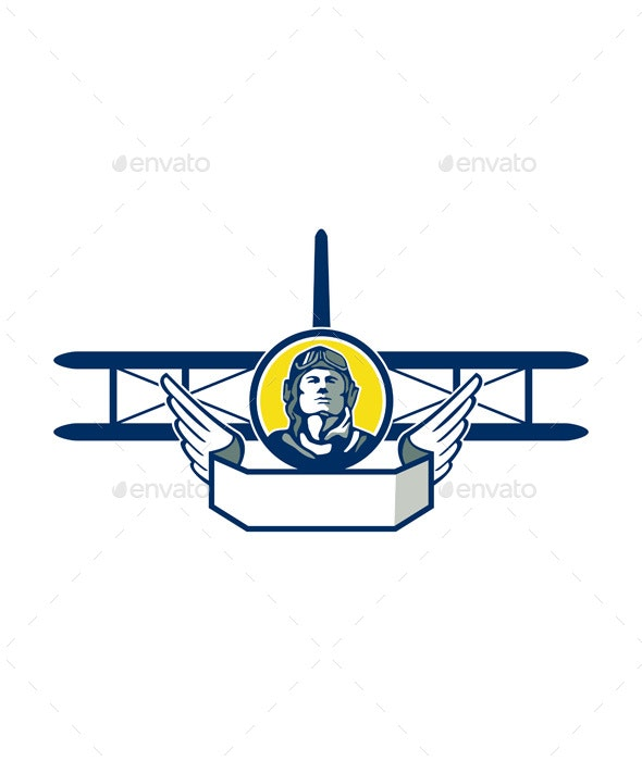 World War One Pilot Head Biplane Circle Retro - People Characters