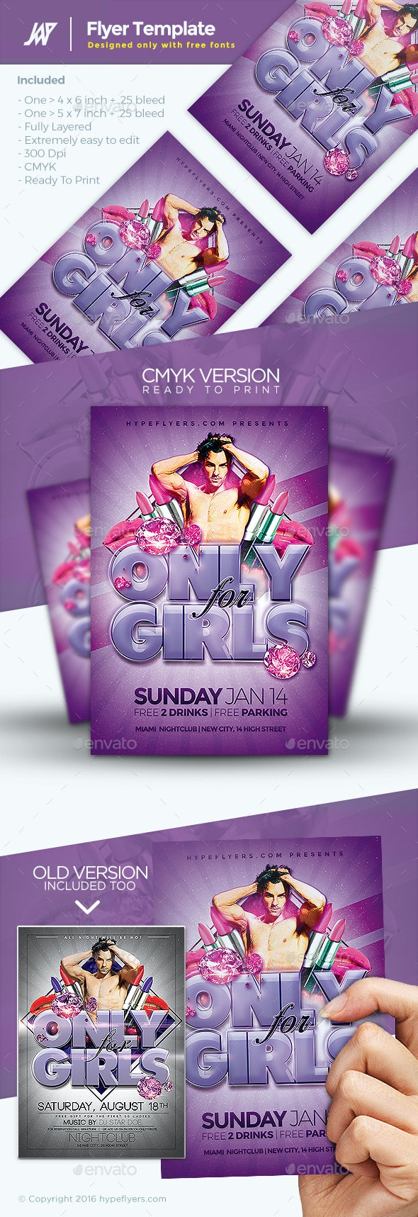 Only for Girls Flyer - Clubs & Parties Events
