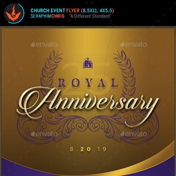 Royal Gold Anniversary Church Flyer Template