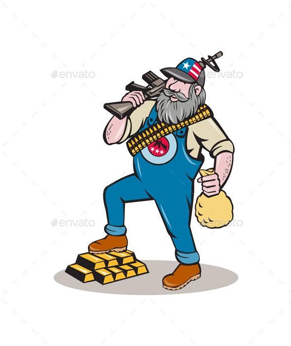 Hillbilly Man Rifle Gold Bars Money Bag Cartoon