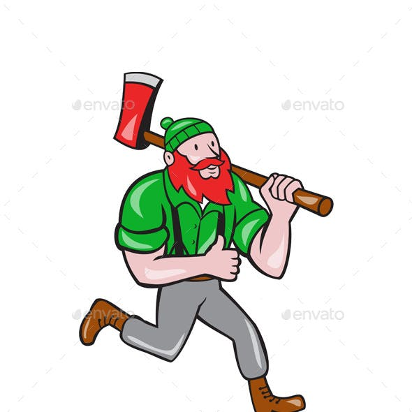Paul Bunyan Lumberjack Axe Running Cartoon