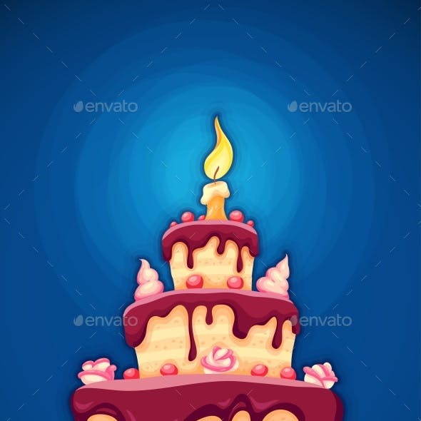 Birthday Cake with Candle and Chocolate Cream