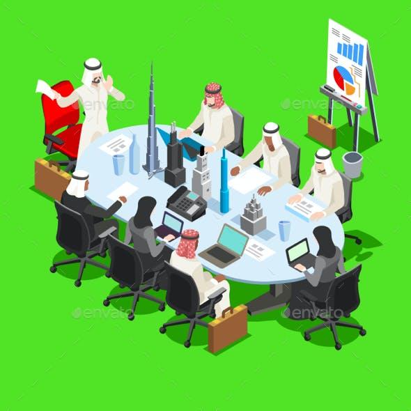 Sheik Businessman Isometric People