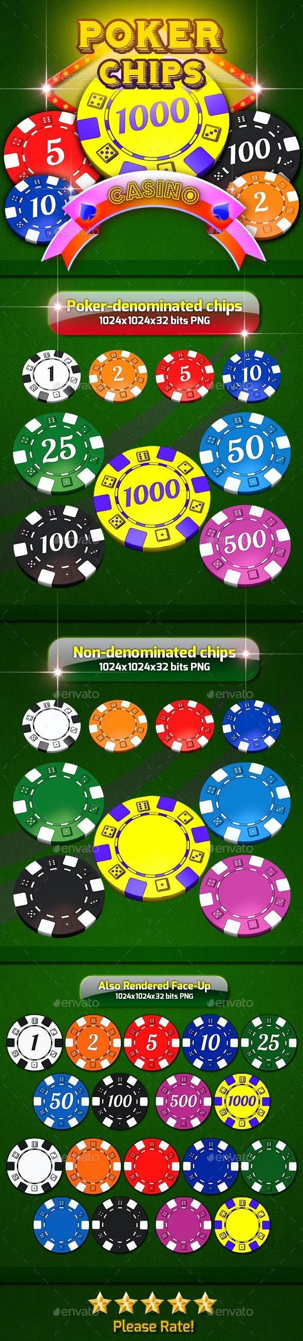 Poker Denominated Chips - Miscellaneous Game Assets