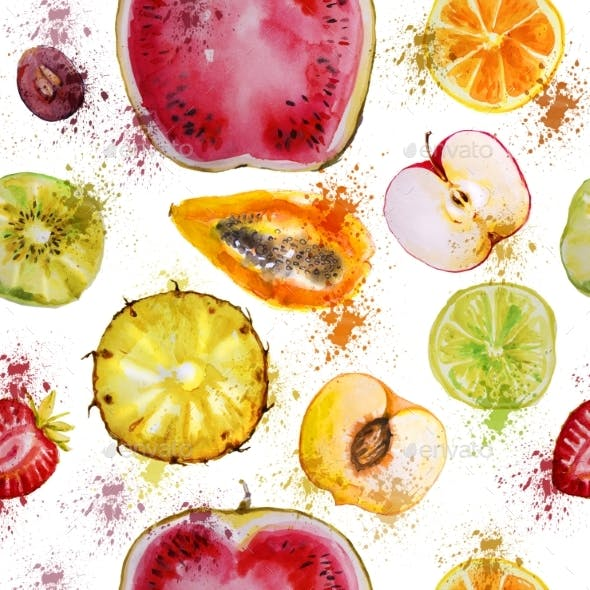 Seamless Pattern With Watercolor Fruits