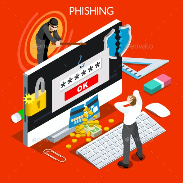 Phishing Concept Isometric People