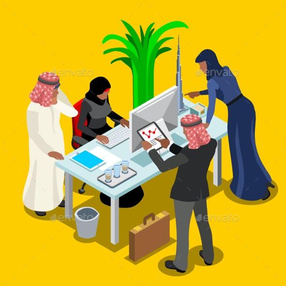 Arabic Business Isometric People