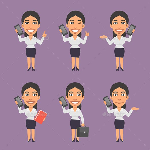 Businesswoman Holding Mobile Phone in Different Versions