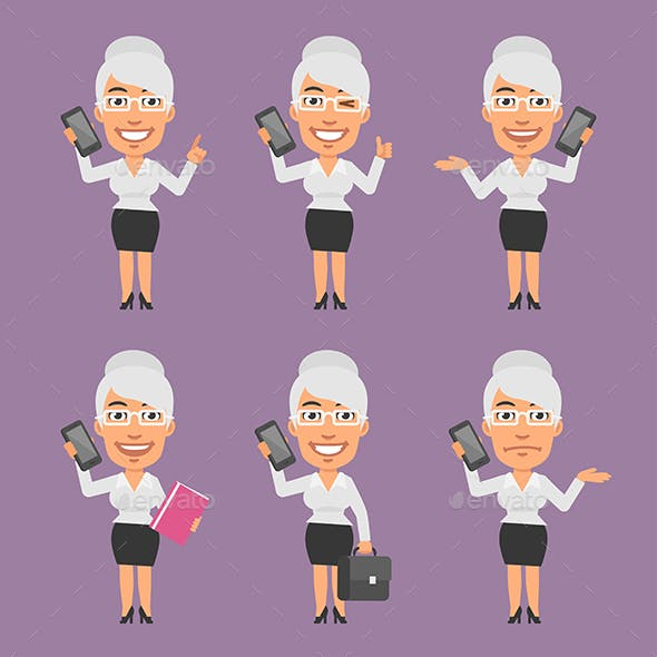 Old Businesswoman Holding Mobile Phone in Different Versions