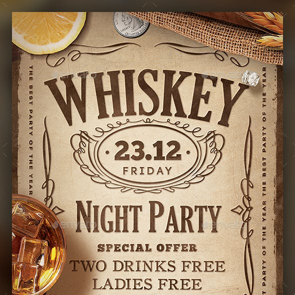 Whiskey Party Flyer Template