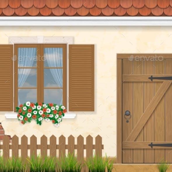 Old Facade Wall Window and Wooden Door