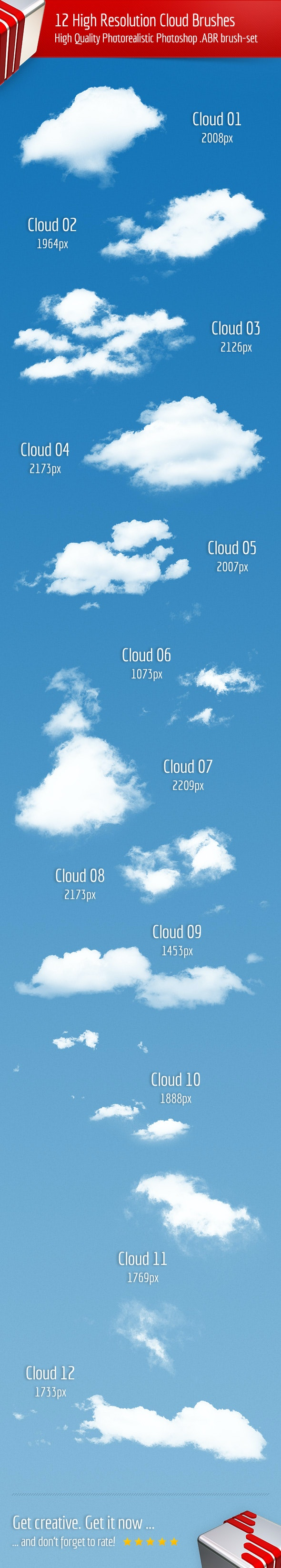 12 High Resolution Cloud Brushes - Brushes Photoshop