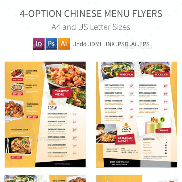 Chinese Restaurant Menu Flyers – 4 Options