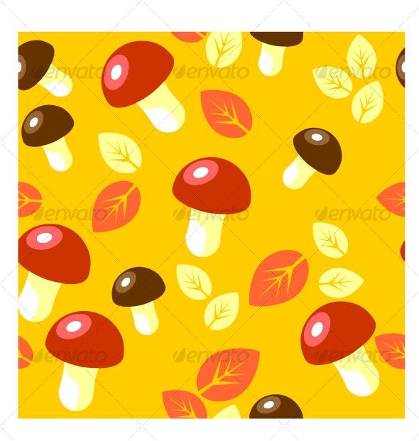 Seamless mushroom ornament  in color 49 - Patterns Decorative