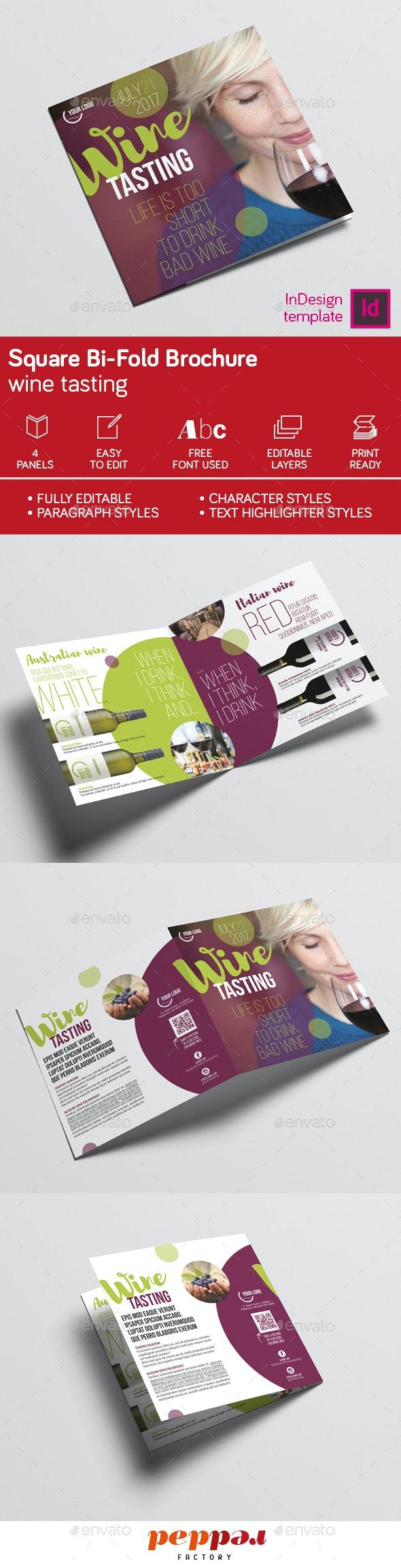 Wine Square Bi-Fold Brochure - Brochures Print Templates