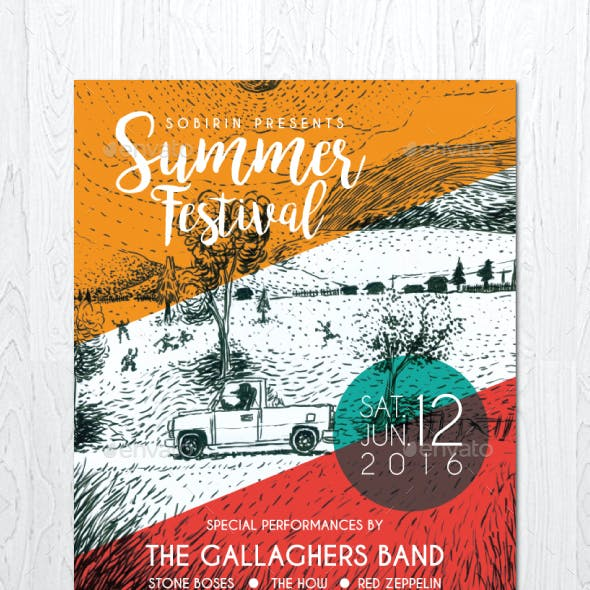 Illustrated Summer Festival Flyer