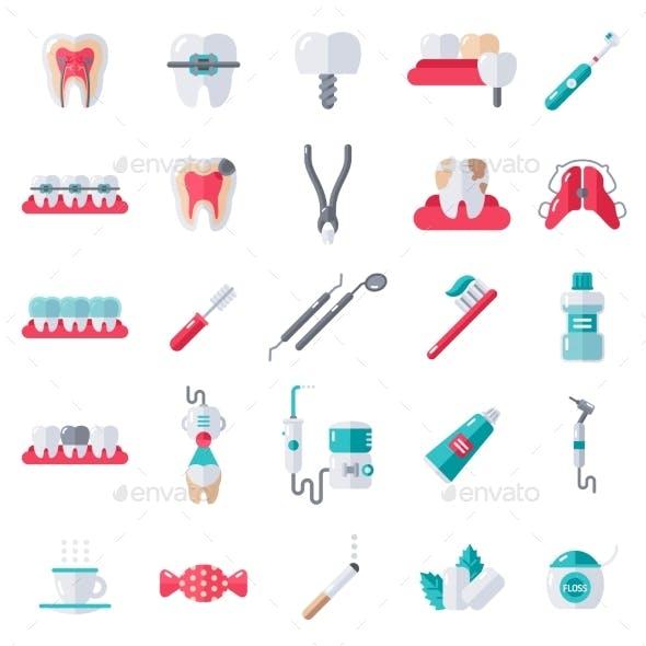 Dental Flat Icons Set