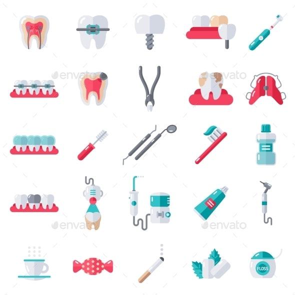 Dental Flat Icons Set - Health/Medicine Conceptual
