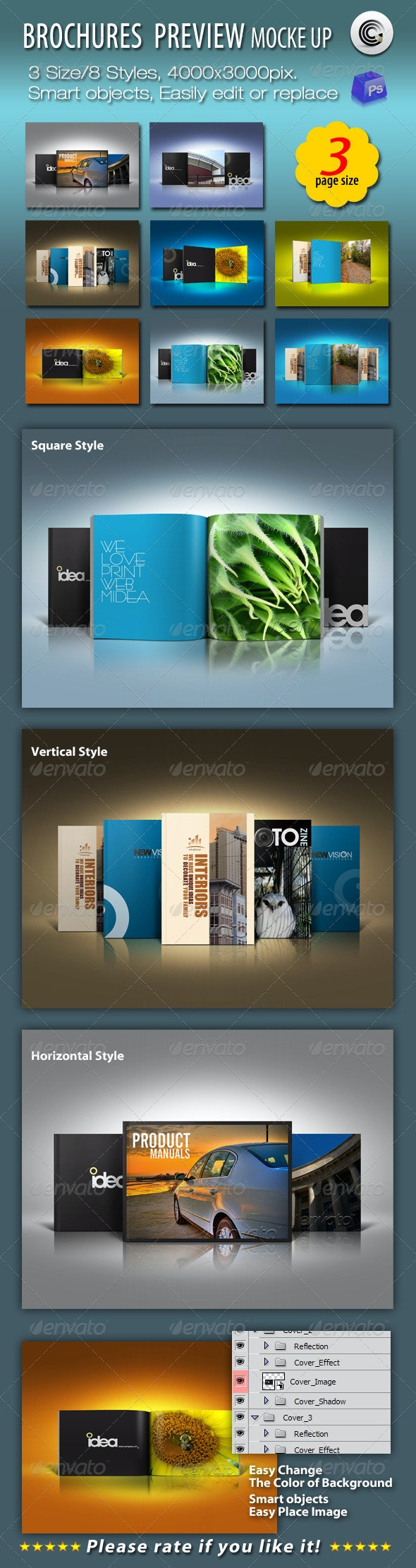 3 Size Brochures Mock-up - Brochures Print