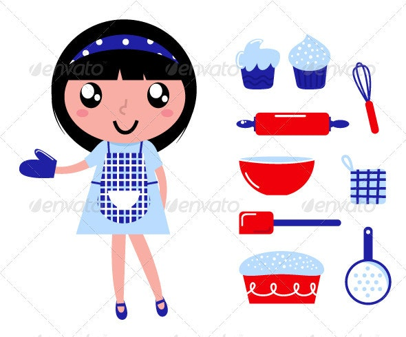 Cute cooking girl with accessories - Food Objects