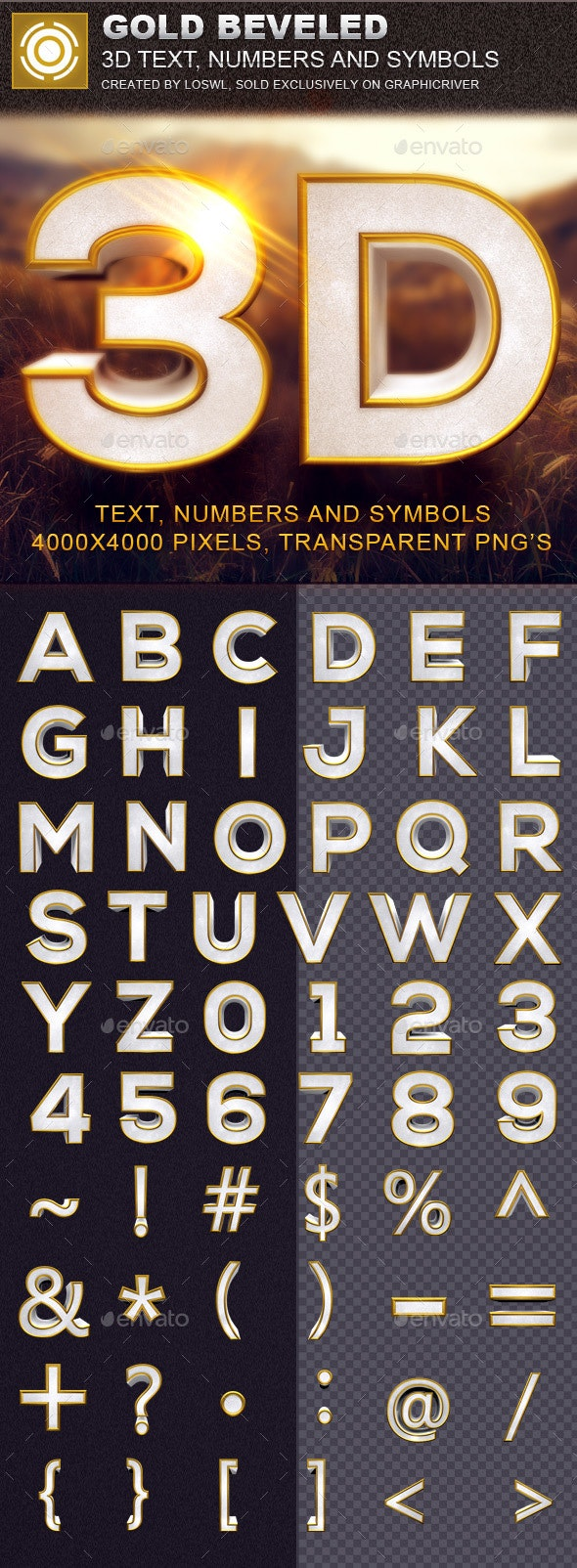 Gold Beveled 3D Text and Symbols - Text 3D Renders