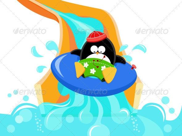 Penguin Enjoying Water Slide - Animals Characters