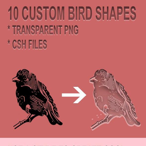 10 Custom Bird Shapes