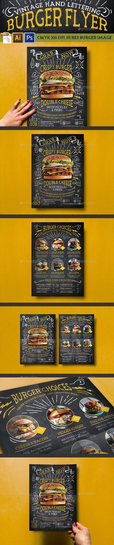 Vintage Hand Lettering Burger Flyer - Restaurant Flyers