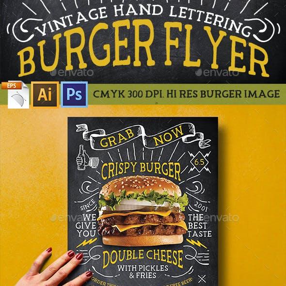 Vintage Hand Lettering Burger Flyer