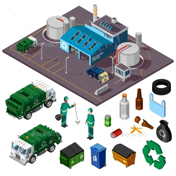 Recycling Center Isometric Design Concept