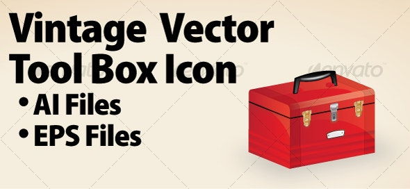Vintage Vector Tool Box Icon - Business Conceptual