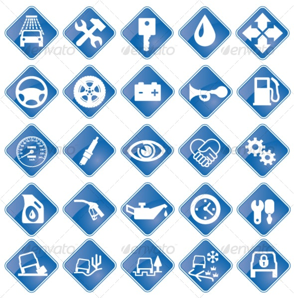 Vector icons for auto service - Services Commercial / Shopping